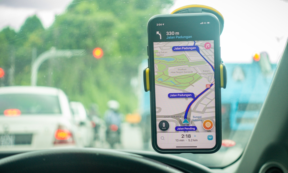 iPhone Waze On Car Windshield