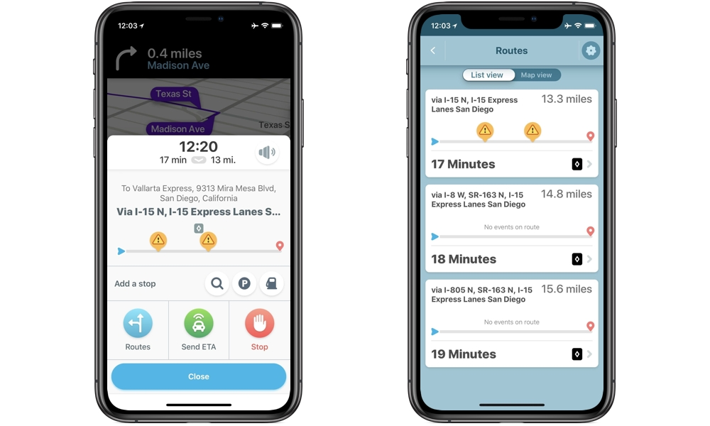 Waze HOV and Toll Pass Routes