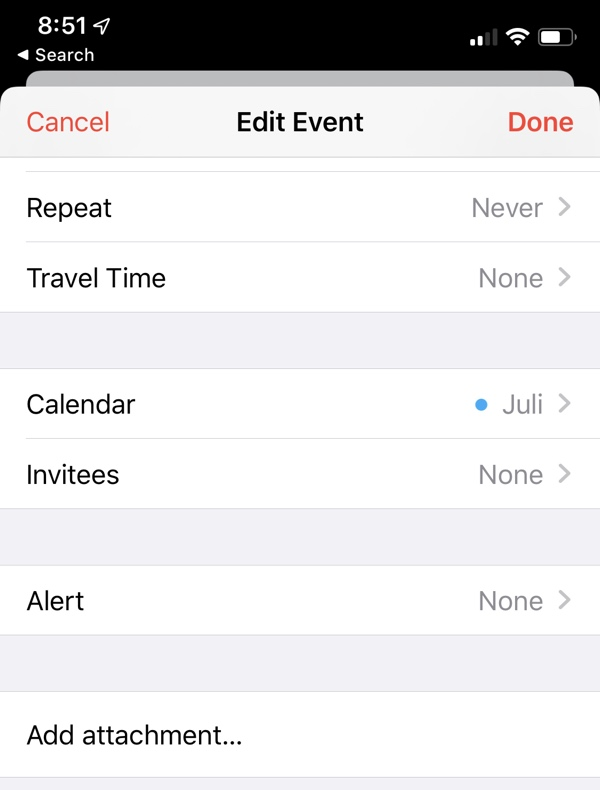 Calendar Attachment iOS 13