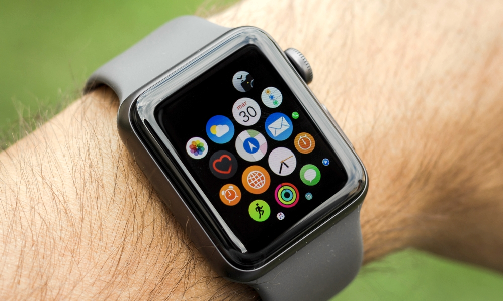Apple Watch On Wrist With App Grid