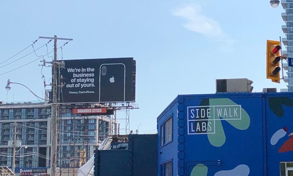 Apple Billboard Outside Sidewalk Labs Toronto