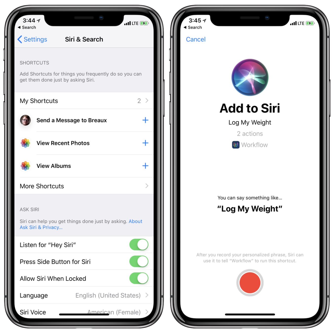 Iphone Custom Siri Shortcuts