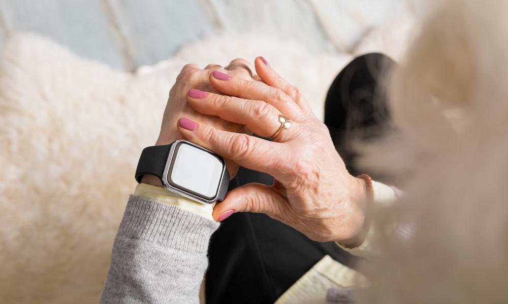 Older Woman Wearing Apple Watch