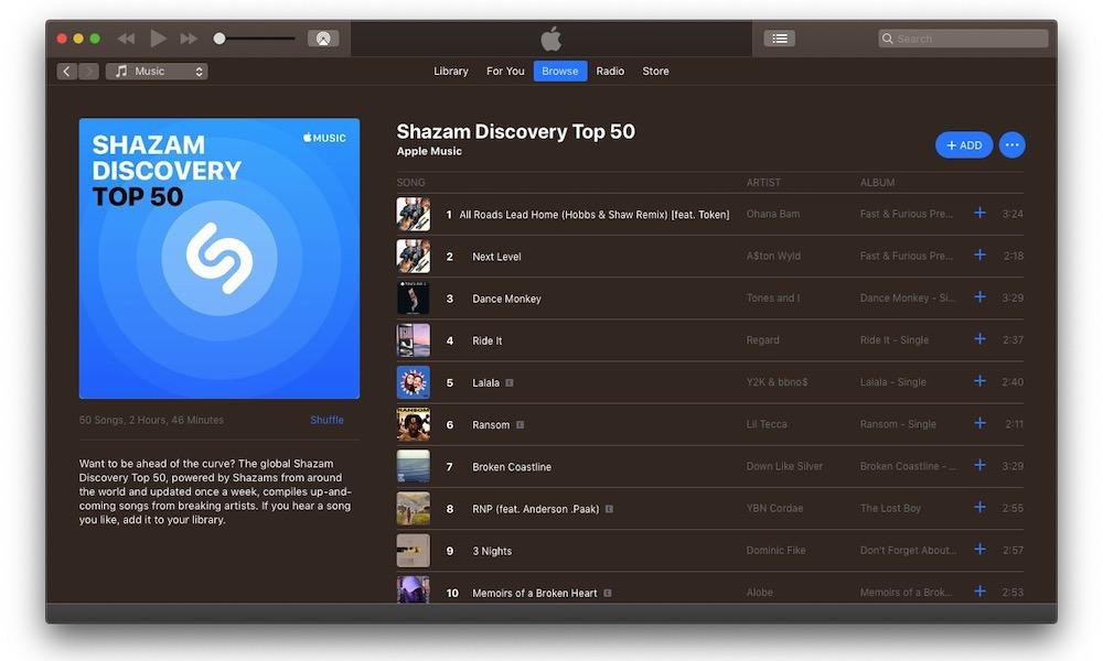 Apple Music Shazam Discovery