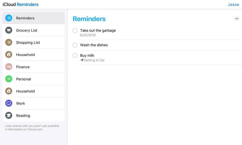iCloud Reminders Beta August 2019