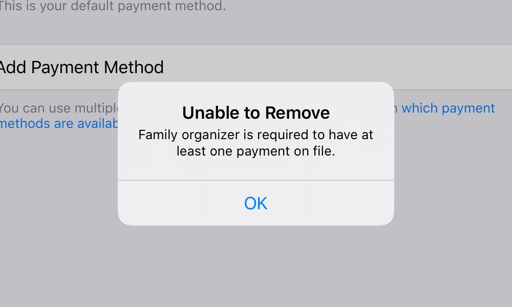 Family Sharing Cant Remove Payment Method