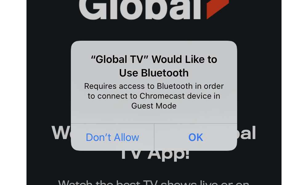 Global TV iOS 13 Bluetooth Permission Request