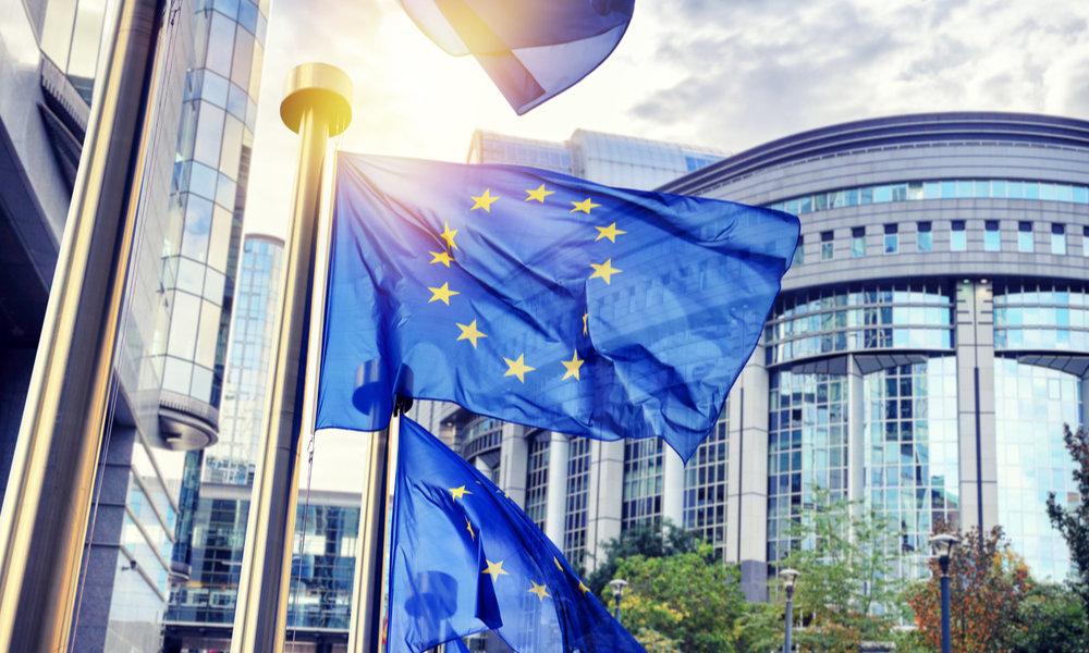 EU Flag Waving Outside European Parliament