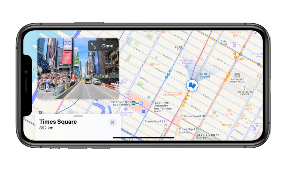 Apple Maps New York Times Square Look Around Overlay