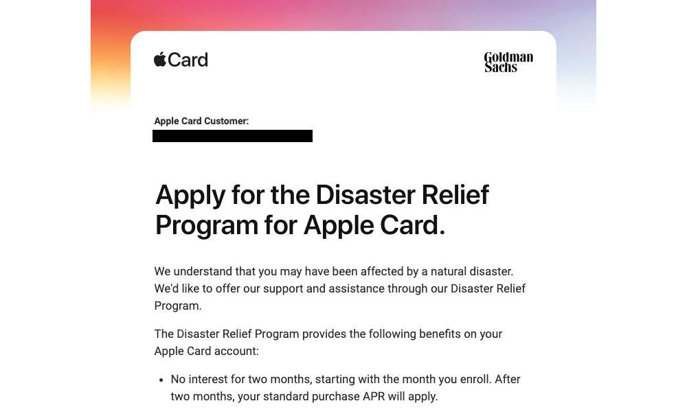Apple Card Disaster Relief Program