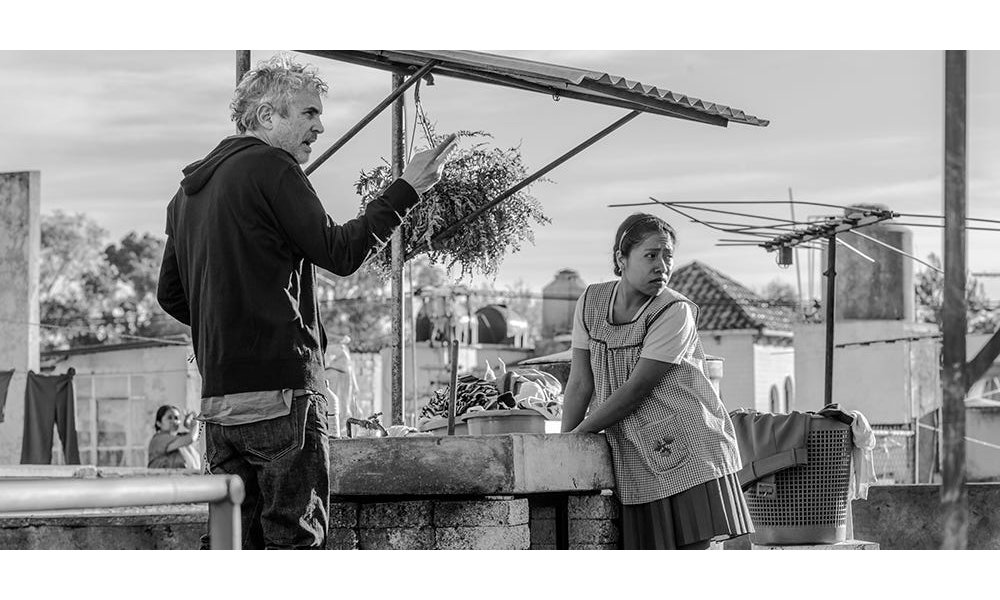 Alfonso Cuaron on the set of Roma
