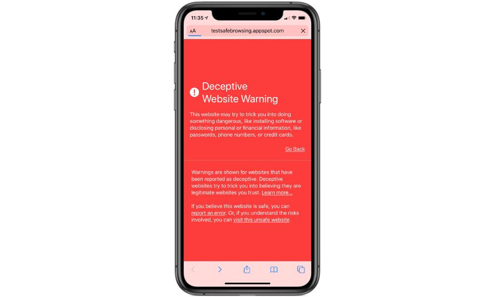 Deceptive Website Warning in Safari on iPhone
