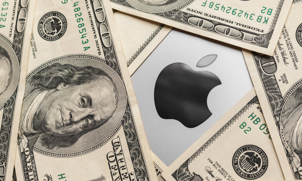 Cash On Macbook With Apple Logo