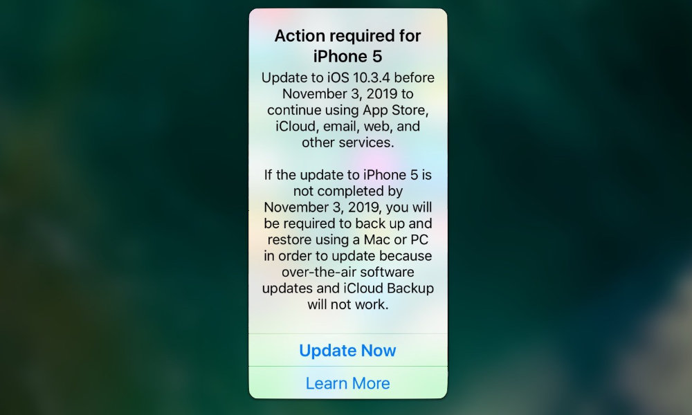 iOS 10.3.4 Update Warning