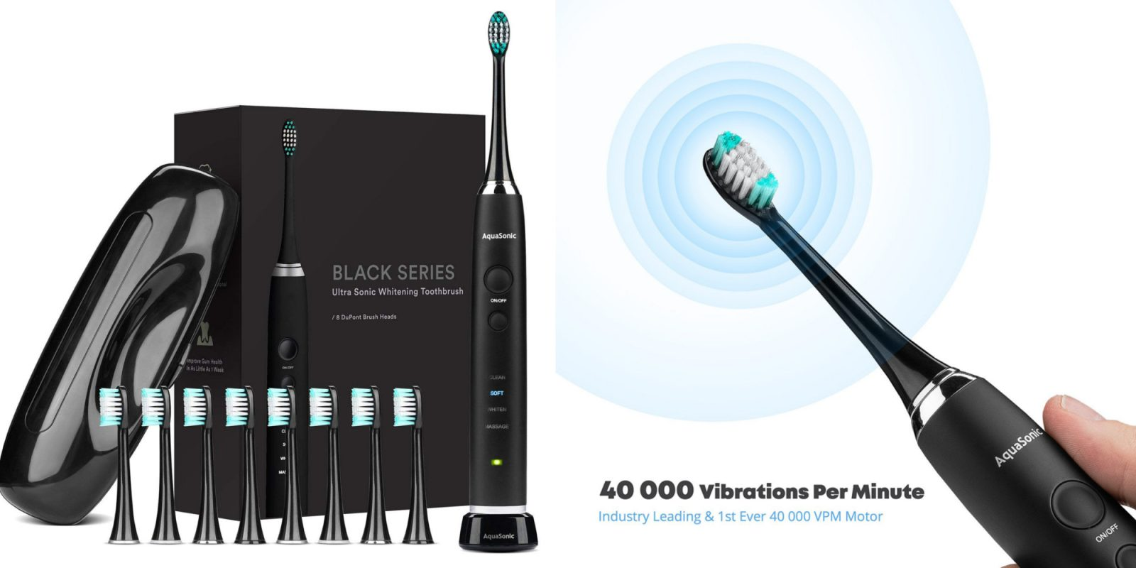 AquaSonic Black Series Ultra Whitening Electric Toothbrush