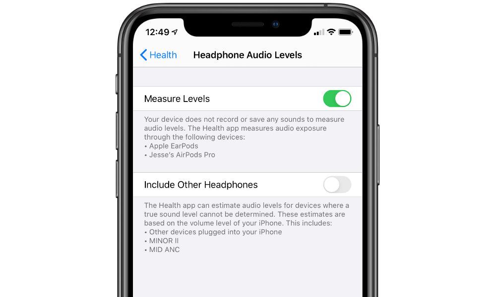 iOS 13 Hearing Health Settings