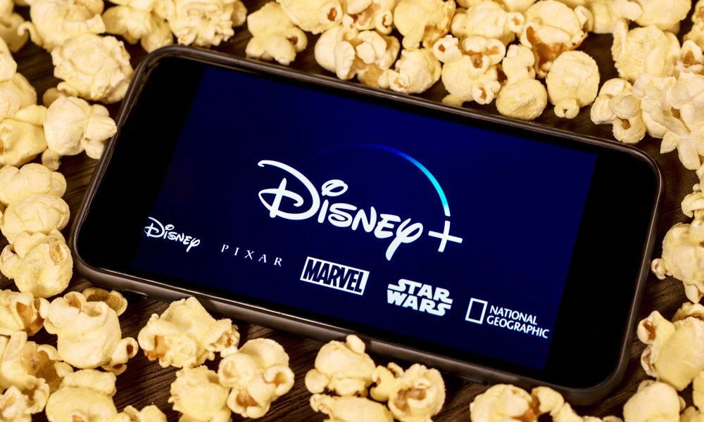 Disney+ on iPhone in popcorn
