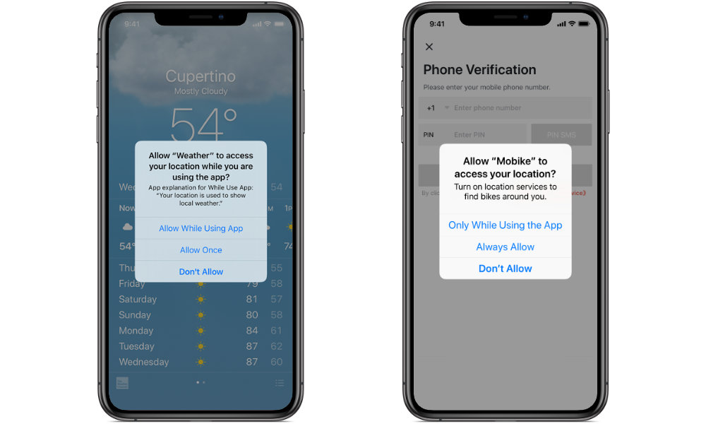 iOS 12 vs iOS 13 Location Request Prompts