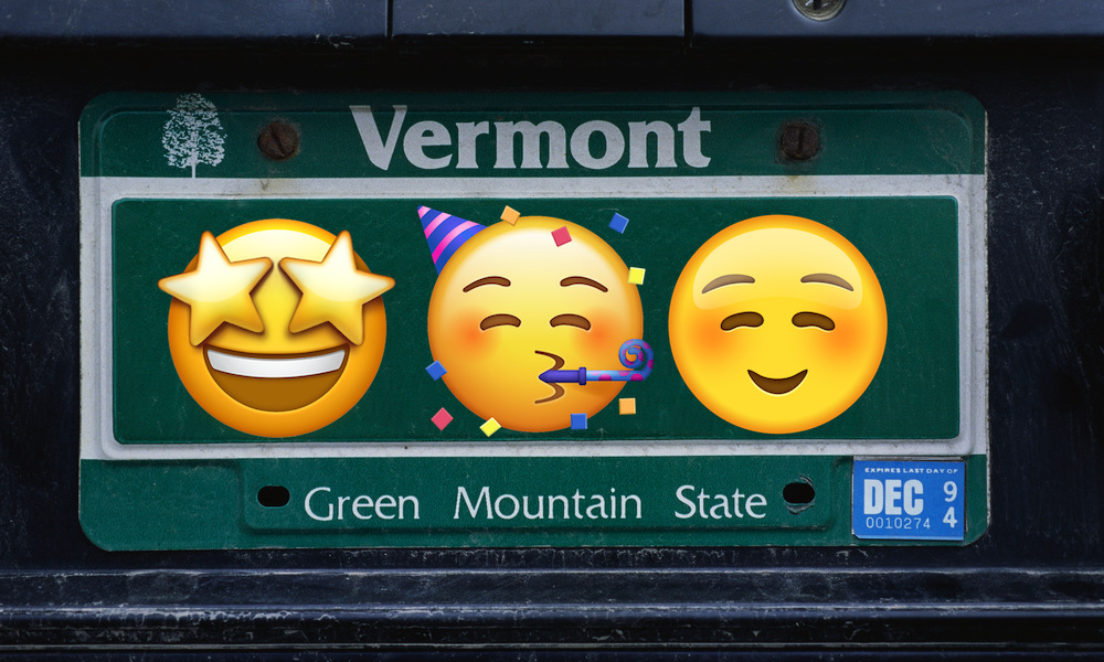 Vermont License Plate with Emojis