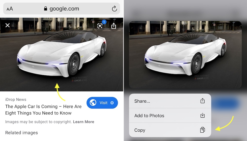 Copy Image with a Long Press in iOS 131