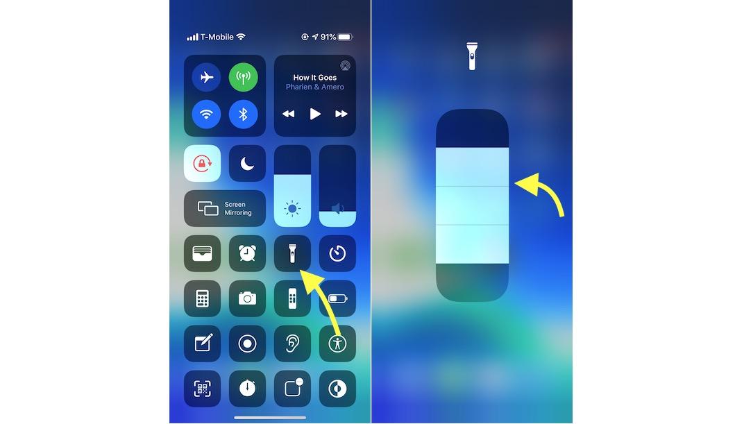Long Press Flashlight iOS 13