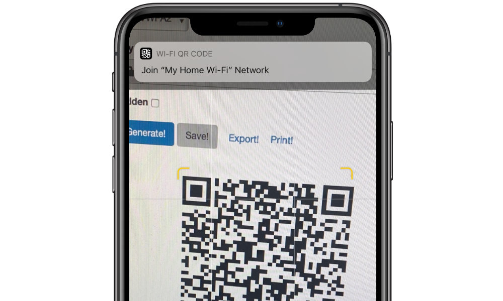iPhone scan Wi-Fi QR code
