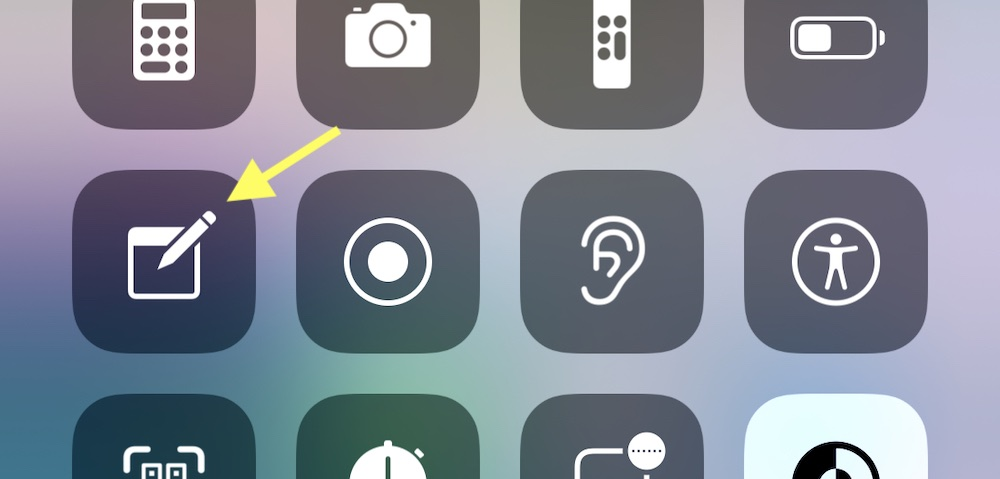 iPhone Notes Control Center
