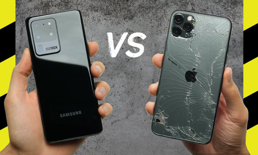 Drop Test iPhone 11 Pro Max vs Samsung S20 Ultra
