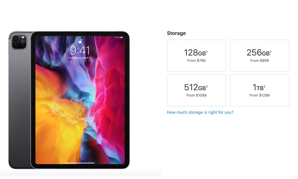 2020 iPad Pro storage capacities