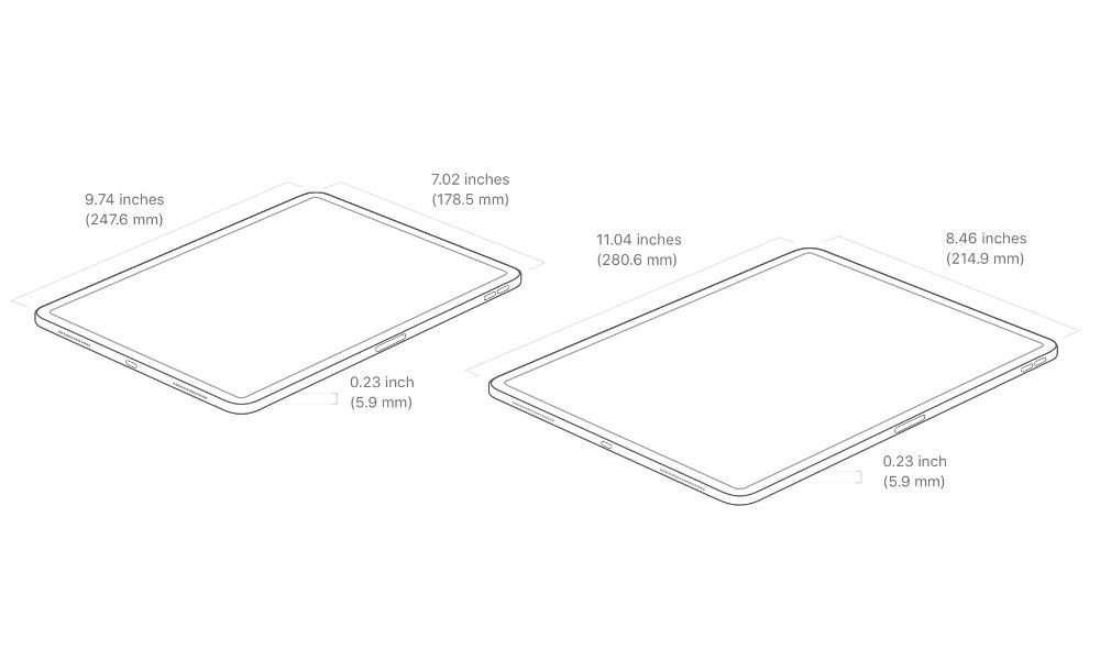 2020 iPad Pro size and weight dimensions