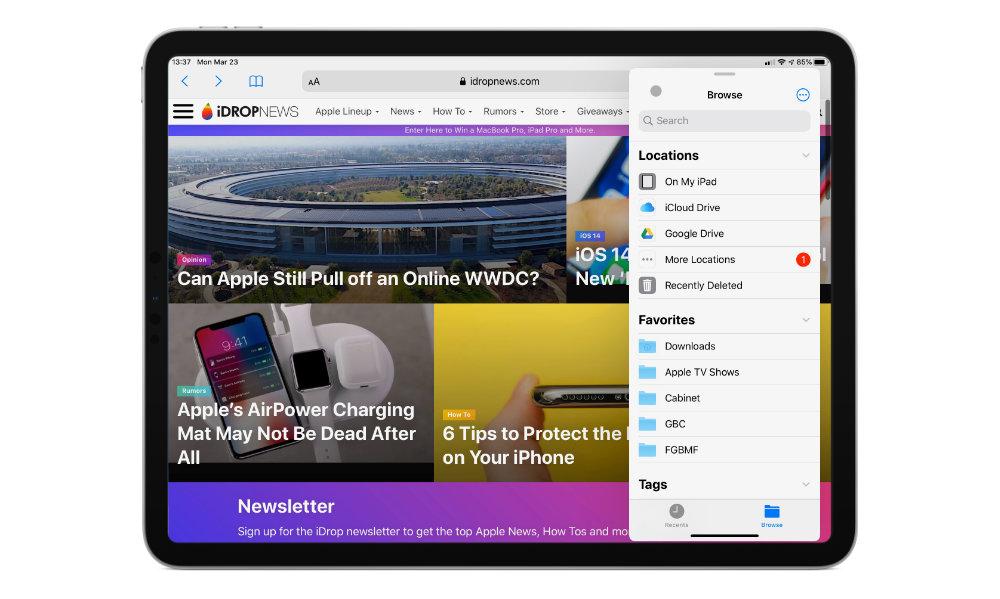 iPadOS 13.4 mouse slideover on safari