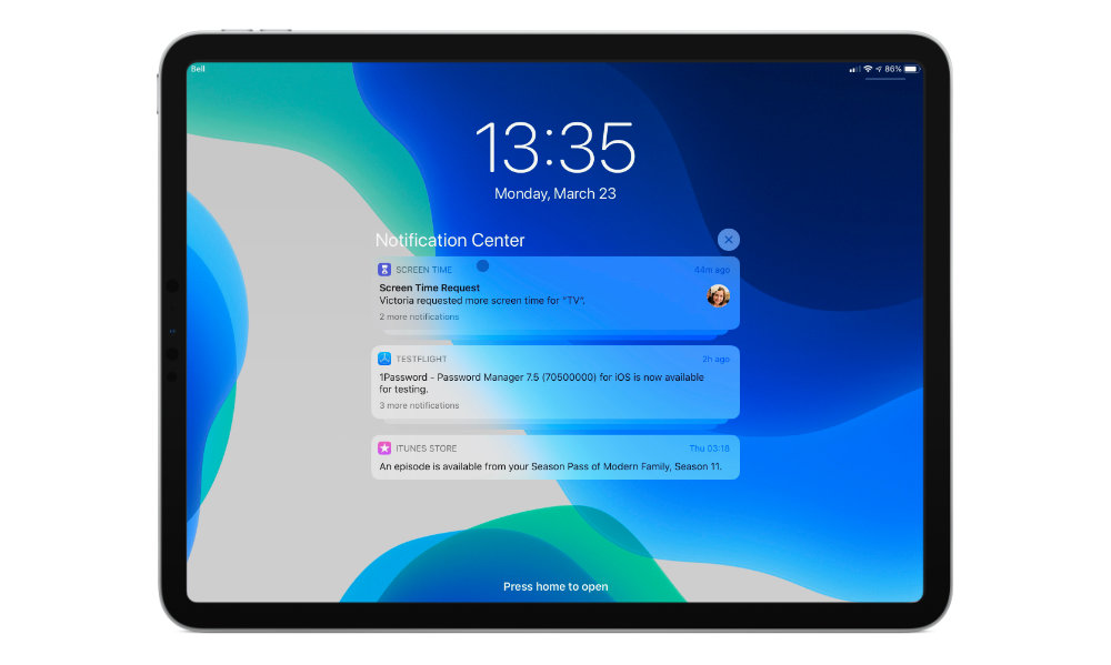 iPadOS 13.4 mouse notification center
