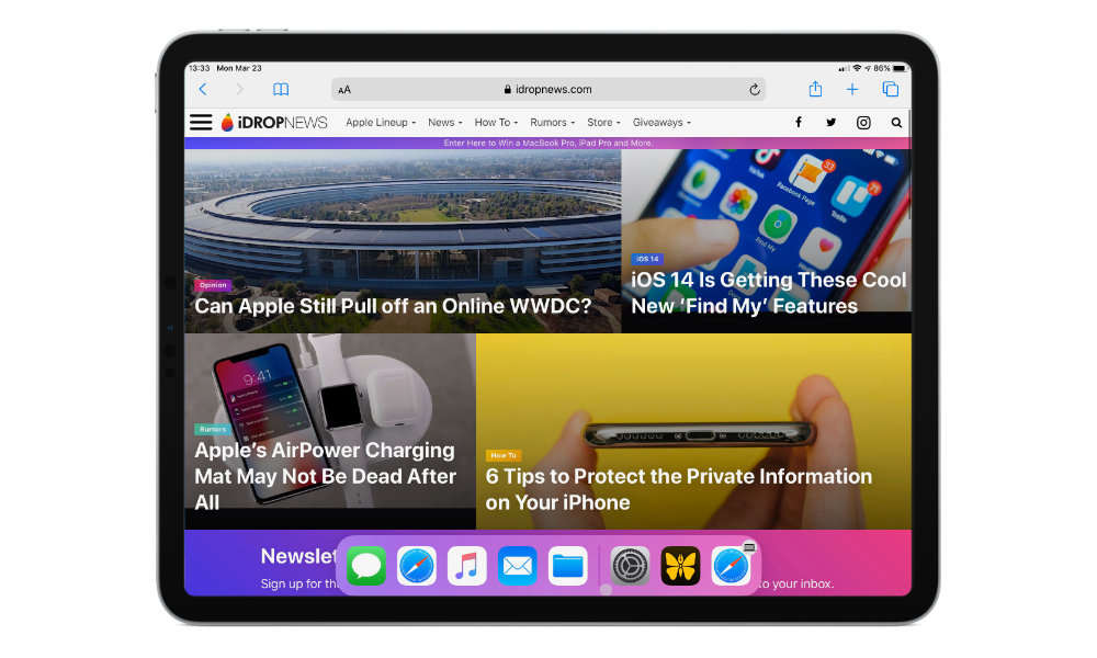 iPadOS 13.4 mouse dock on safari