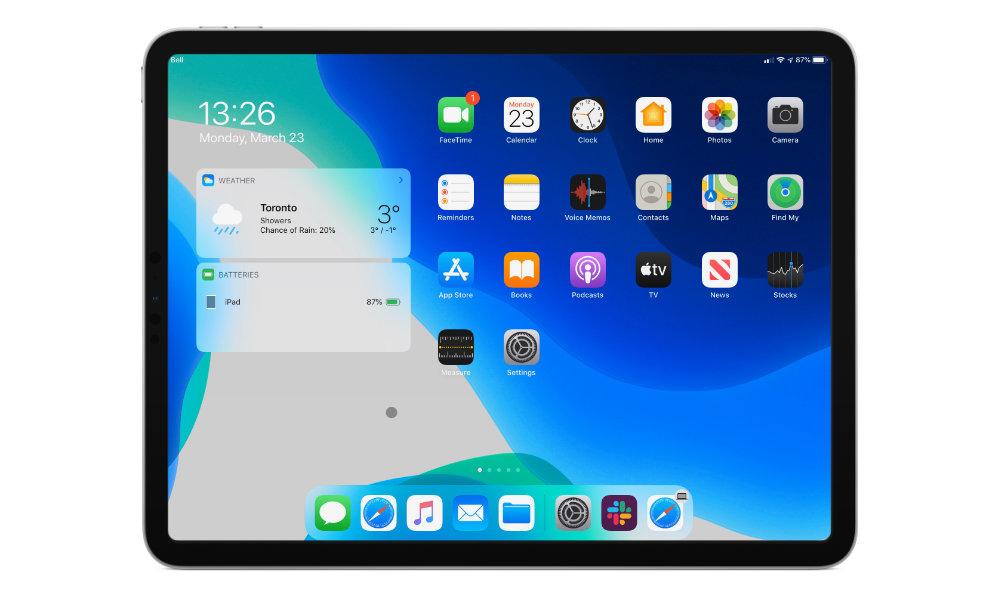iPadOS 13.4 mouse home screen