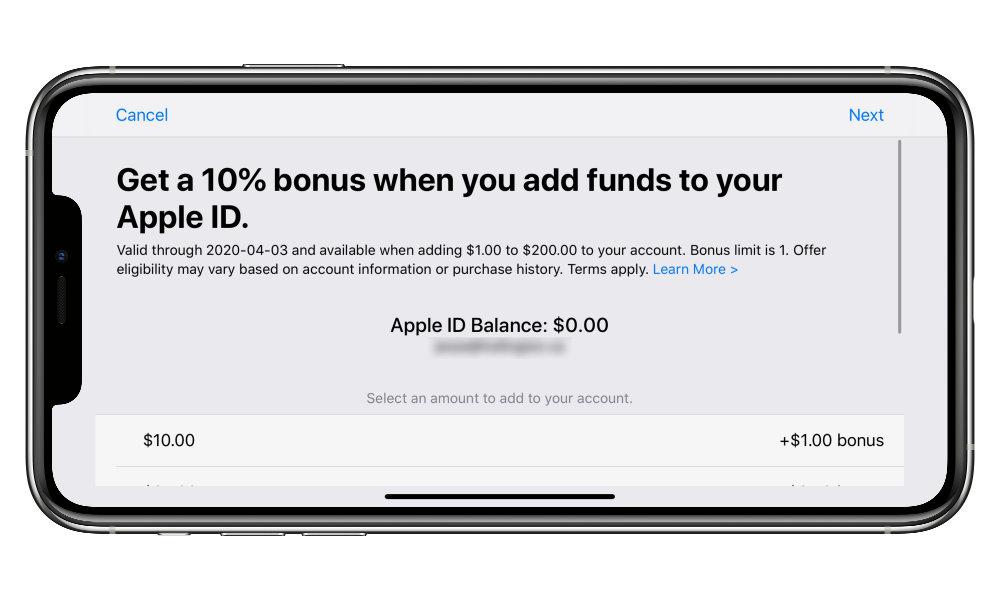 Apple ID Balance Bonus