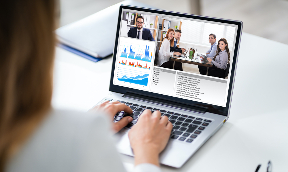 business meeting on video conference laptop