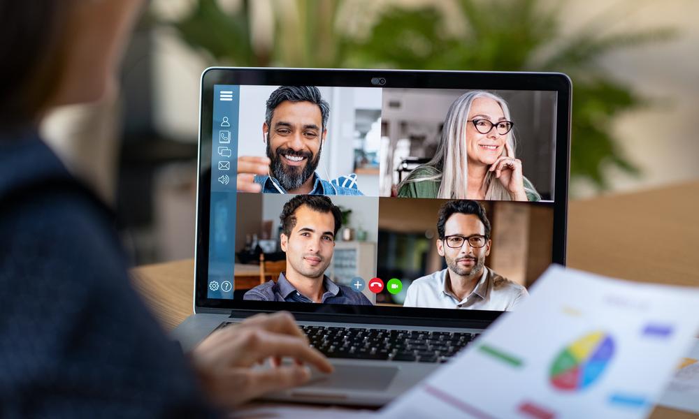 multi pane video chat on laptop