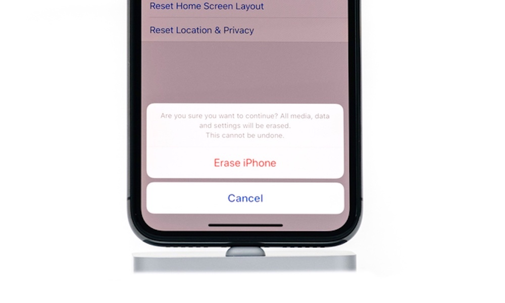 Erase all content and settings on an iPhone