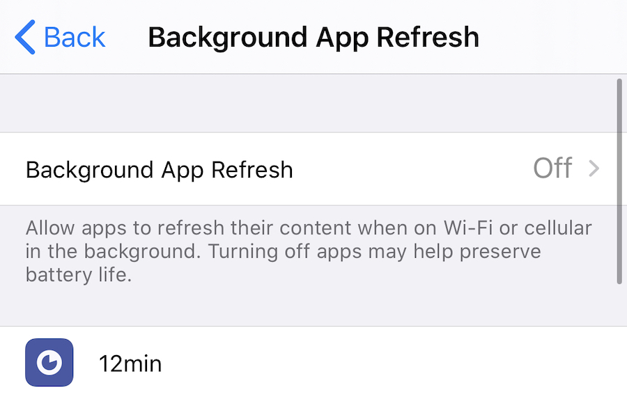 Background App Refresh Off