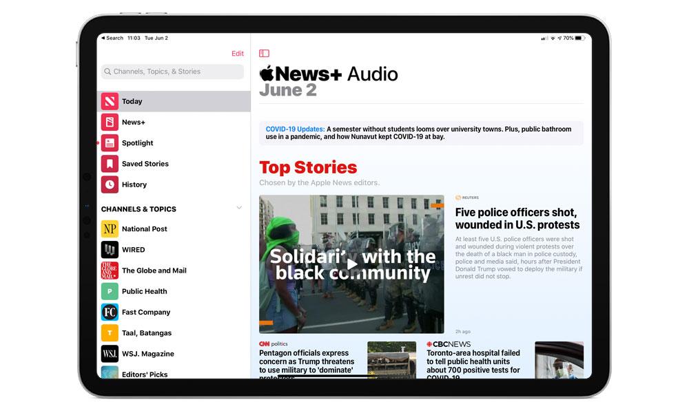 Apple News Audio on iPad