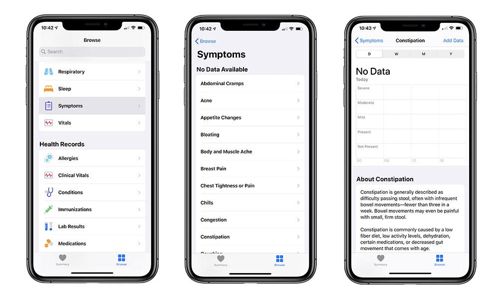 iOS 13.6 Health Symptoms