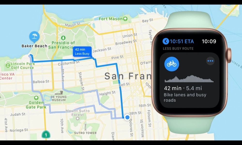 Cycling Directions Apple watchOS 7 Maps