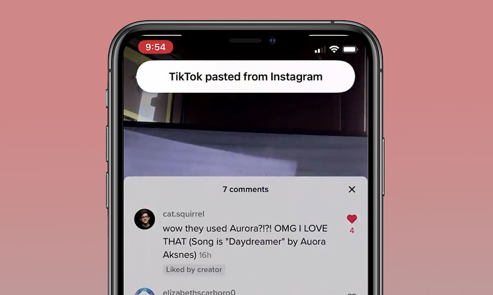 iOS 14 Clipboard Notifications in TikTok