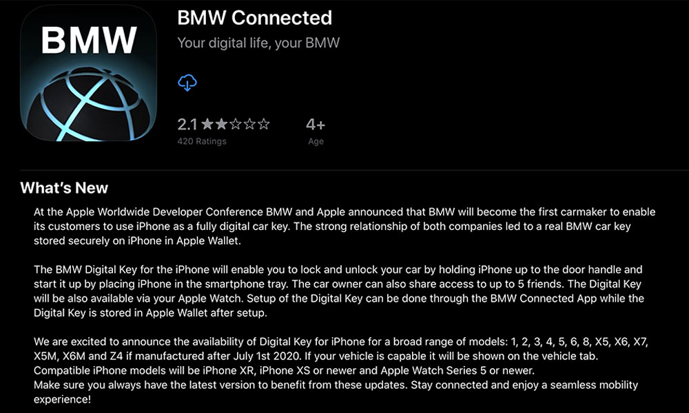BMW Connected Car Key Update