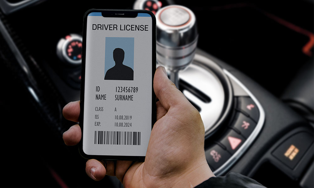 drivers license on iPhone in car