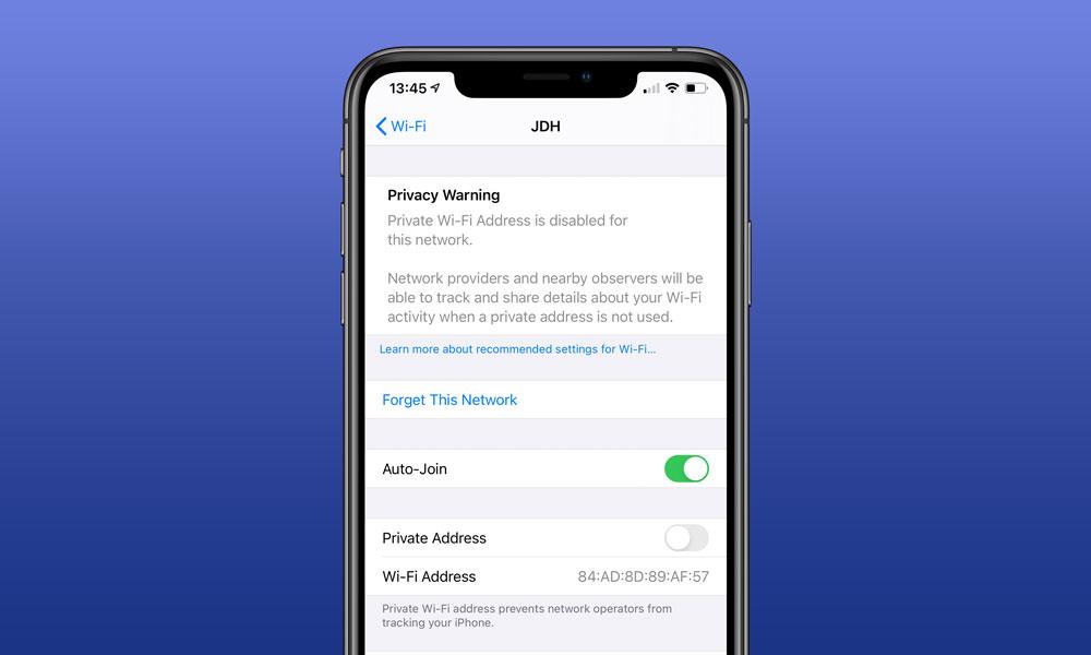 iOS 14 Private Wi Fi Address