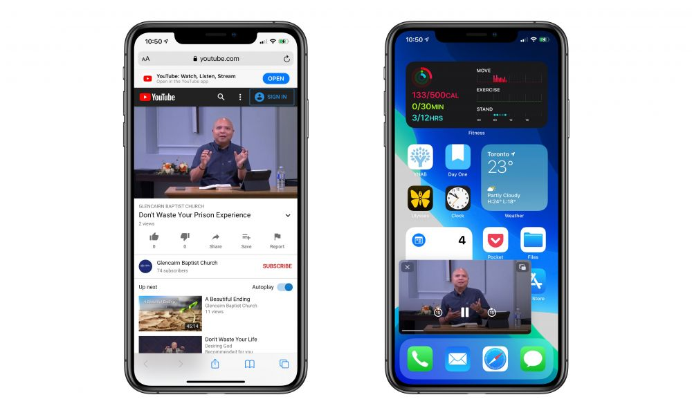 iOS 14 YouTube picture in picture on iPhone
