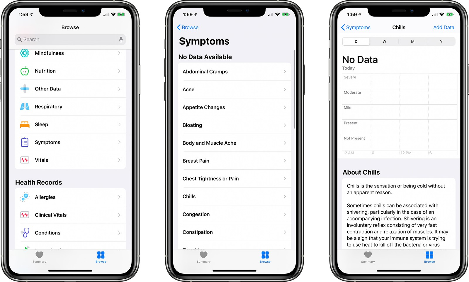 ios 13 6 health app symptoms