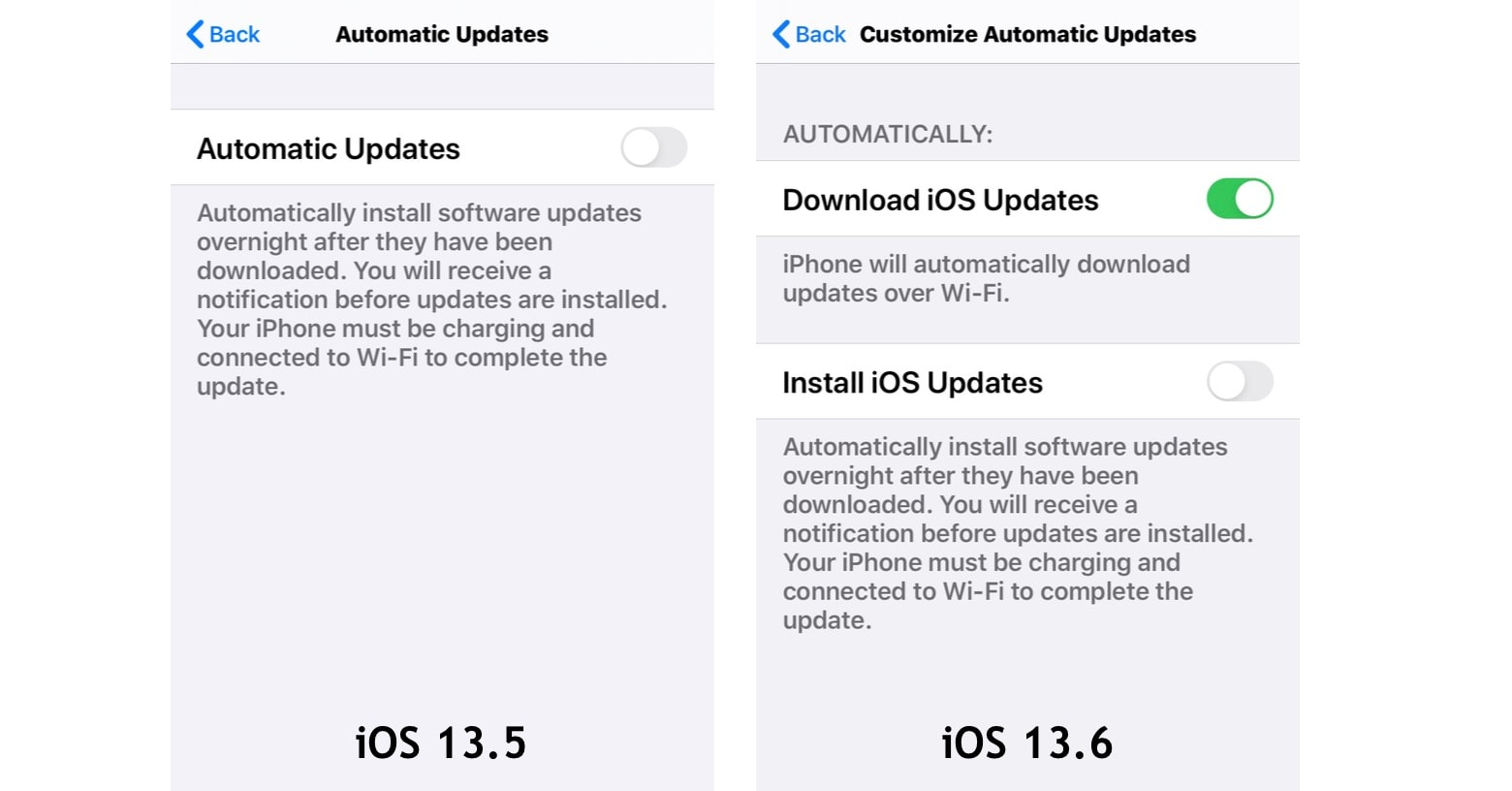 iOS 13 6 Automatic Update Toggles