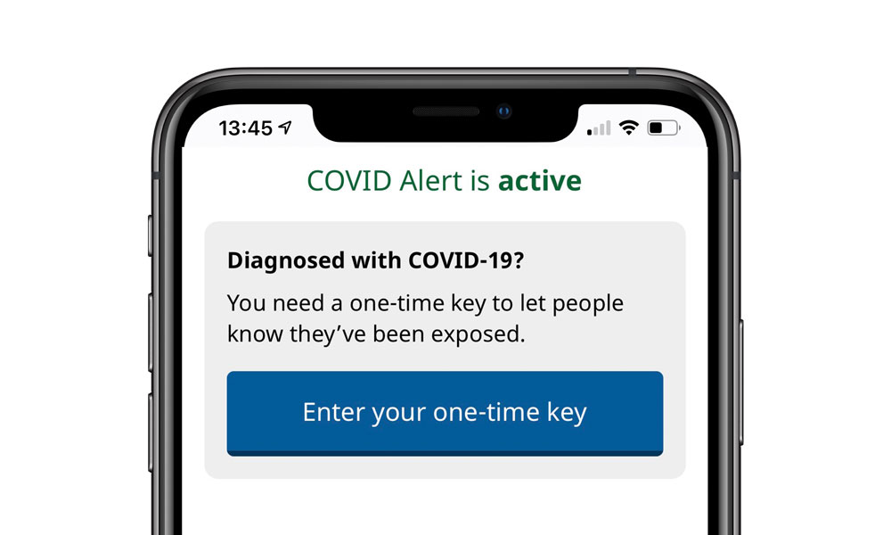 Canada COVID Alert app one time key